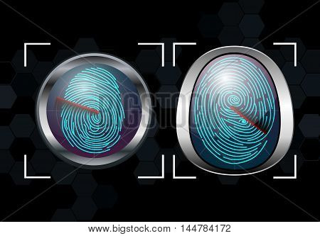 Illustration of  Group of Fingerprint Scanning Identification System
