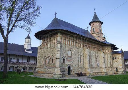 Neamt, Romania - April 30, 2014: Medieval stone church in Neamt monastery Northeast Romania
