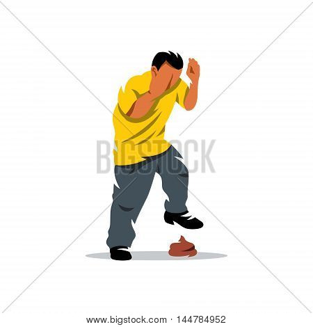 Boy comes to a piece of dirt. Isolated on a white background