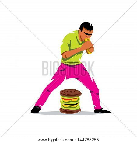 Man shoves in the mouth meal. Isolated on white background.