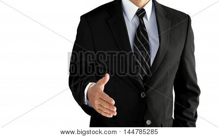 Business man with an open hand ready to seal a deal over white