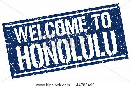 welcome to Honolulu. stamp. grunge square sign