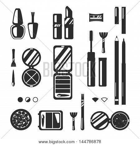 Black monochrome set of decorative cosmetics vector flat illustration. Beauty store shop icons