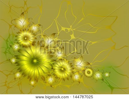 Volume monochrome floral composition in Golden tones, vignette.EPS10 vector illustration.