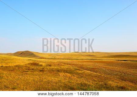 Landscape of the deserted steppe. Kazakhstan.Landscape of natural views of Central Asia.