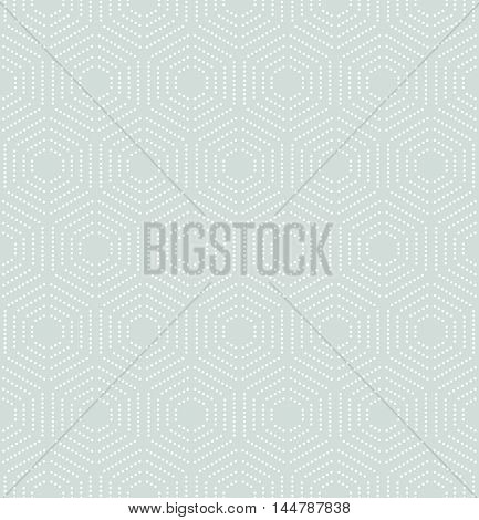 Geometric repeating ornament with hexagonal dotted white elements. Seamless abstract modern pattern