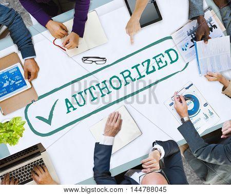 Authorized Approve Permission Sanction Graphic Concept