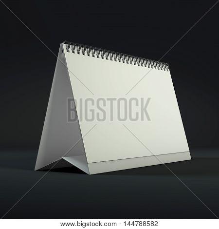 Blank calendar on a dark background. 3D rendering.