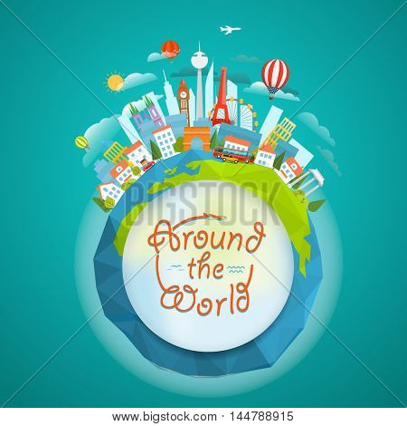 Famous sights around the world. Travel concept vector illustration.