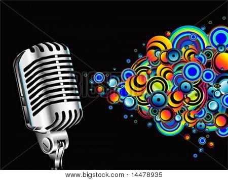 Burbujas VECTOR retro micrófono cantar