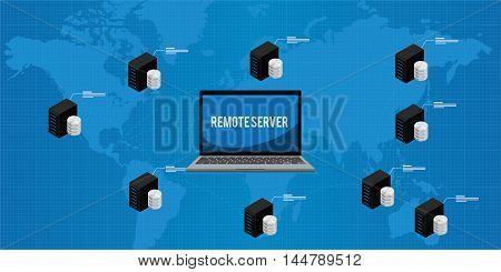 remote server around the world vector illustration