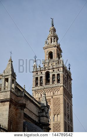 Giralda - the bell tower of the Seville Cathedral in Seville, Spain