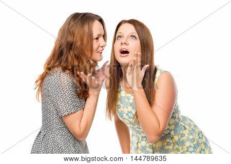 The Girl Told Her Friend Shocking News On A White Background