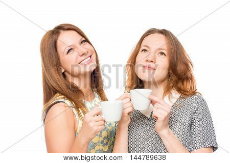 Dreamy Girl With A Cup Of Tea On A White Background