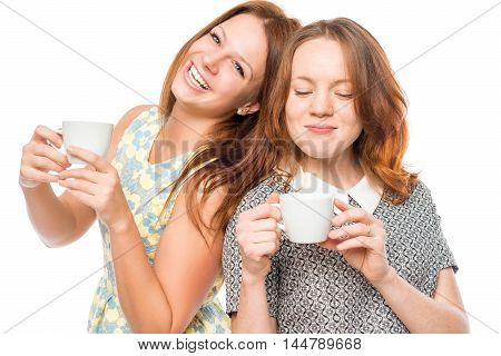 Best Friends With Cups On White Background