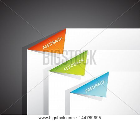 Folded papers in the corner with feedback text.
