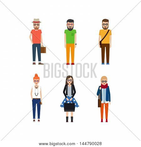 Hipster girls and boys cartoon icons isolated on white. Vector illustration
