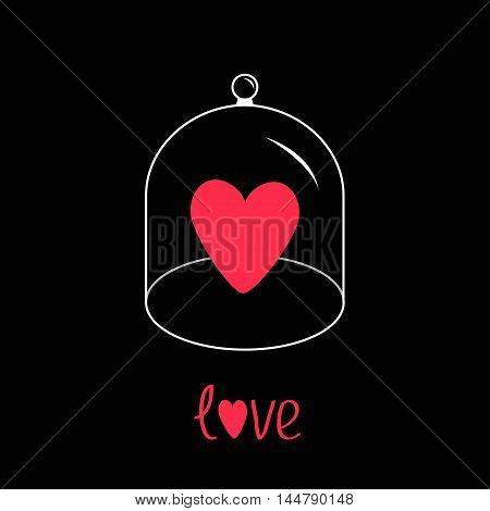 Pink heart. Glass bell cover cap. Half sphere lid dome with handle. Love greeting card. Black background. Vector illustration.