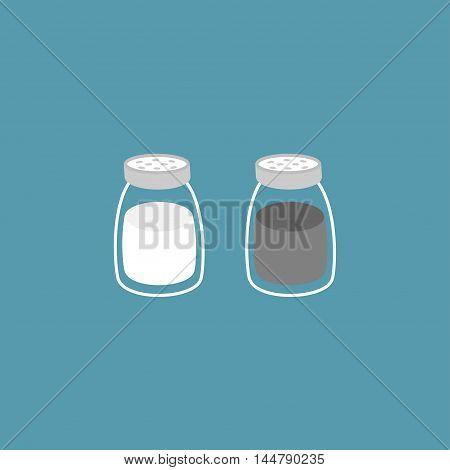 Salt pepper shaker. Glass container set. Flat design. Blue background. Vector illustration