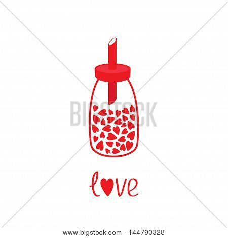 Sugar bowl basin shaker bottle with hearts crystals inside. Glass container. Line icon. Love card. Flat design. Isolated. White background. Vector illustration.