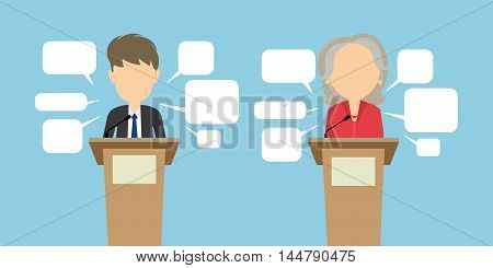 Two speakers debate. Political debates or speeches at the conference. Two speakers with speech bubbles. Election concept.