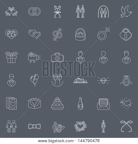 Marriage set of vector icons and wedding elements for gay date and wedding in thin style