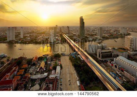 Bangkok city at sunset Bangkok skyline at sunset Bangkok Thailand.