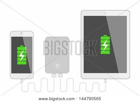 Gadgets with powerbank. Phone and tablet charging with portable powerbank. High battery. Isolated gadgets on white background.