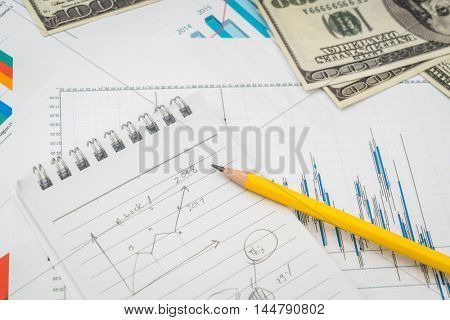 Financial charts on the table with dollars banknotes