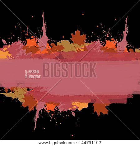 Grunge vector autumn background with maple leafs. Hand drawn ink blots. Elements for design. Eps10