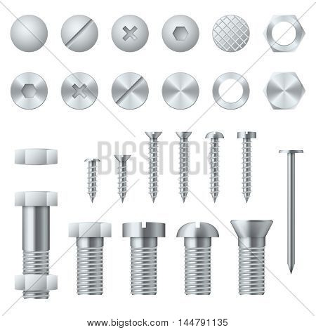 Screws, bolts, nuts, nails and rivets for fastening and fixing. Vector illustration design elements