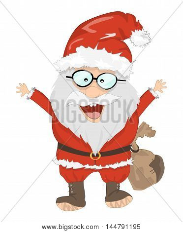 Isolated Santa Claus. Funny smiling Santa with sack and glasses. Red suit and white beard. Symbol of New Year and Christmas.