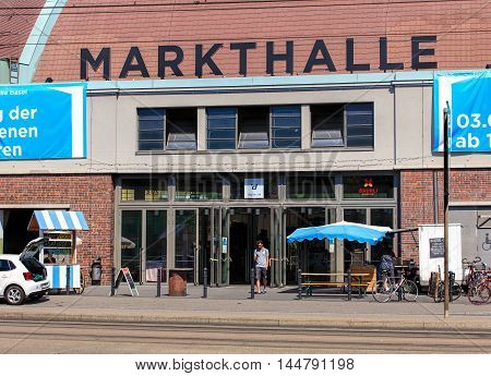 Basel, Switzerland - 27 August, 2016: entrance to the Markthalle building. The Markthalle building was built in 1929 and served as a marketplace till 2004.