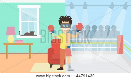 Man in vr at the ring. Happy smiling young man in vr glasses playing video game at home. Fighting and winning at the boxing ring.