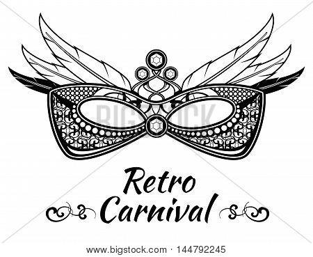 Carnival vector background poster flayer invitation with masquerade masks. Venetian festival banner illustration