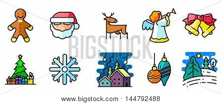 Vector colored thin simply icons set with winter and Christmas holiday in line art style. Pine tree with gifts winter night snowy landscape decorations Santa angel deer and Gingerbread characters
