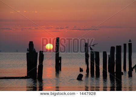 Ship Spars At Sunset
