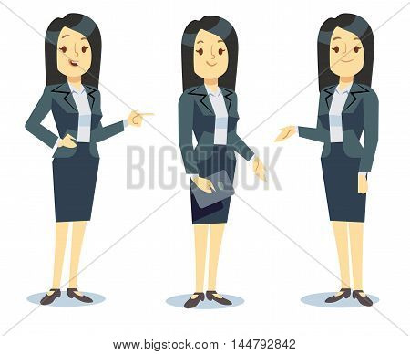 Funny businesswoman cartoon character in different poses for business presentation. Professional manager young lady in formal suit. Vector illustration