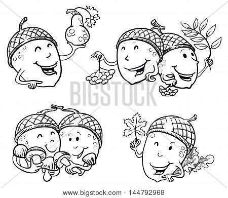 Doodle set with acorn characters with rowan berries mushrooms maple leaf and pumpkin. Fall season illustration