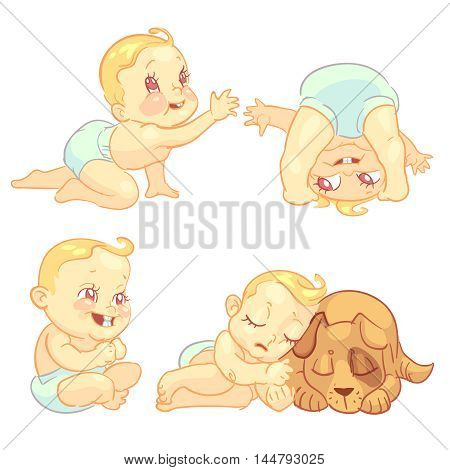 Cute baby in diaper vector character set. Happy toddler playing, crawl and sleep with dog illustration
