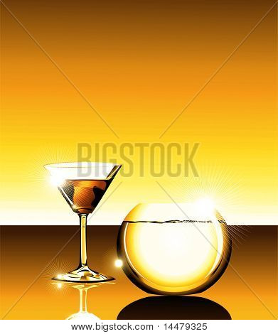 elegant Wine glass and fishbowl on a glass table.