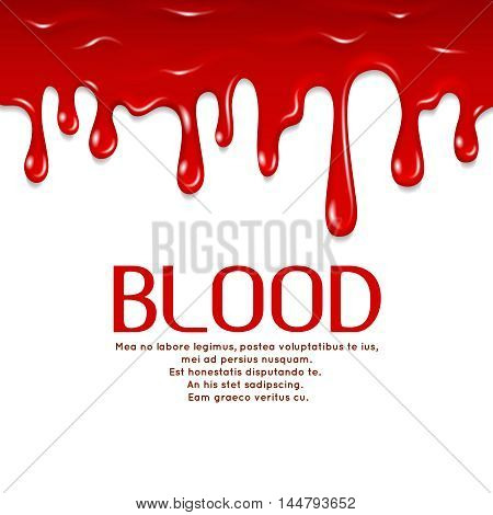 Dripping seamless blood. Horror vector concept illustration. Flowing red blood