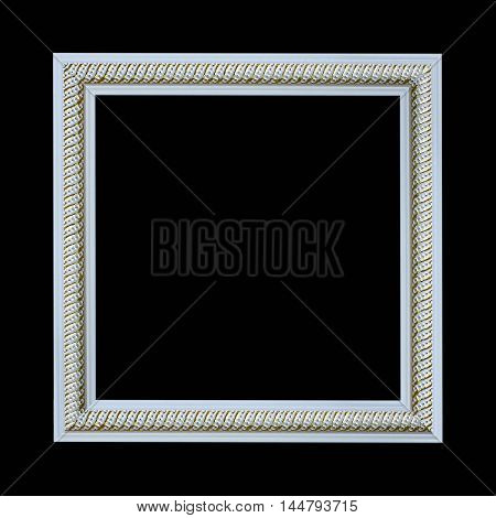 picture frame wooden carved frame pattern isolated on black background .