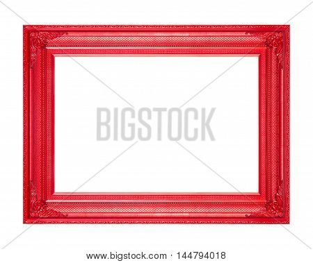 frame vintage blank picture frame wooden carved isolated on white background.