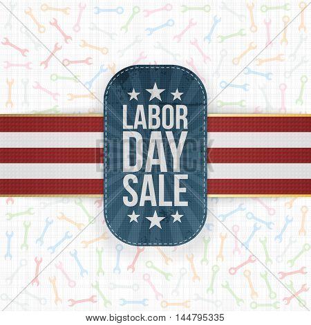 Labor Day Sale patriotic Label with Shadow. Vector Illustration