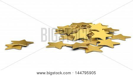 3D illustration of many golden stars over white background