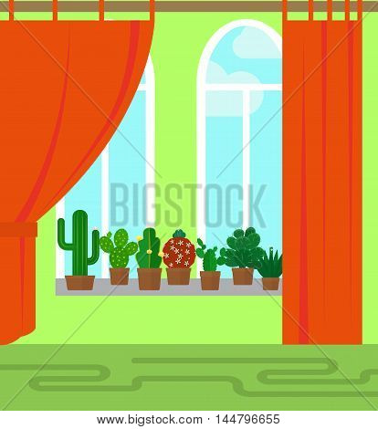 Room with window and cactus flat style vector illustration