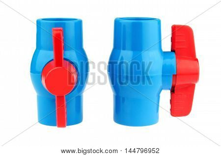 PVC ball valve isolated on white background.