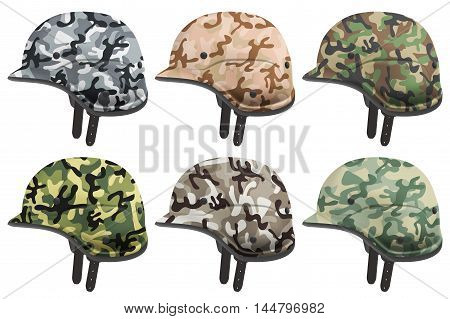 Set of Military modern camouflage helmets. Side view. Army and police symbol of defense. Vector Illustration Isolated on white background.