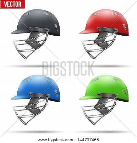 Set of Classic Cricket Helmets Side View. Sport symbol and equipment. Vector Illustration isolated on white background.